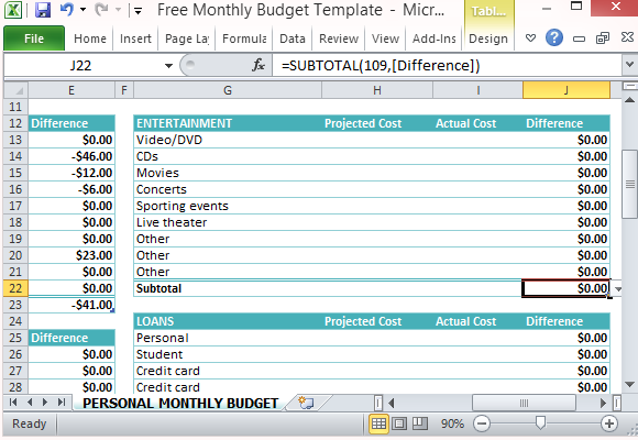 personal monthly budget template .
