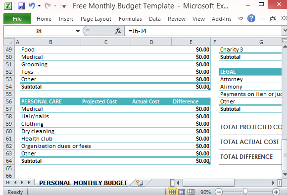 expenditure excel template