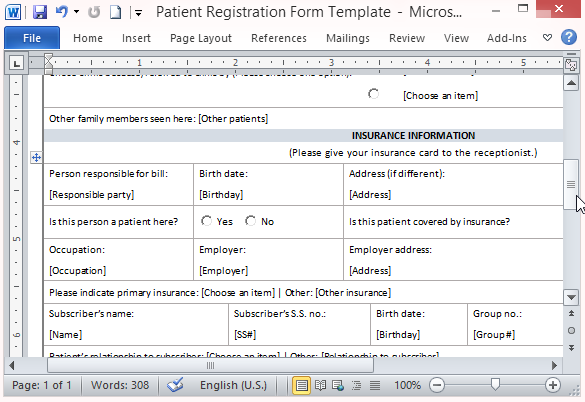 free patient information form template - free patient registration form template