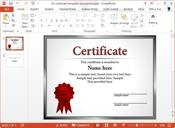 Free powerpoint certificate template yadclub Image collections