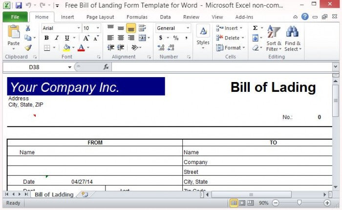 Free Bill of Lading Form Template for Excel – Proof of Delivery Template