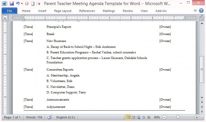 Parent Teacher Meeting Agenda Template for Word – Meeting Templates Word