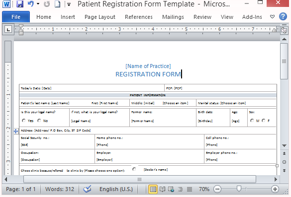 Free Patient Registration Form Template – Information Form Template Word
