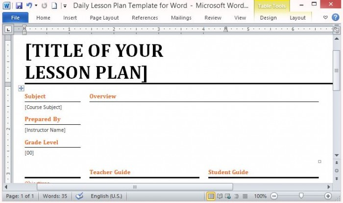 Microsoft Word Template for Making Daily Lesson Plans – Lesson Plan Sample in Word