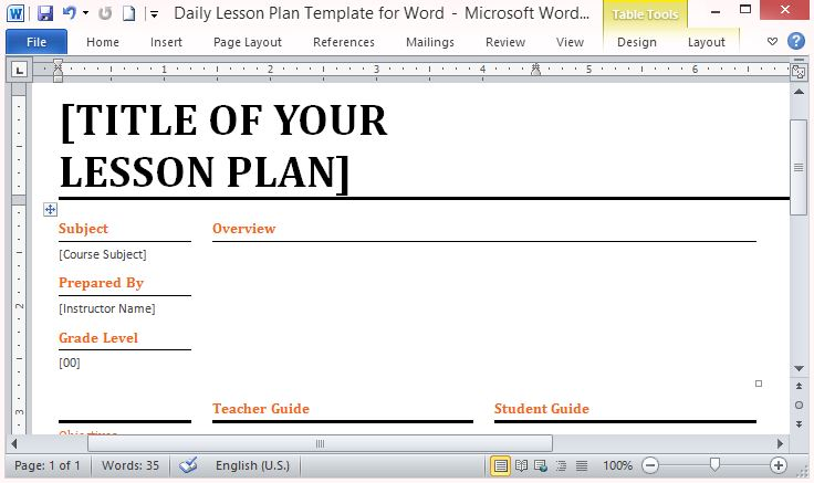 Microsoft Word Lesson Plan Template Zesloka