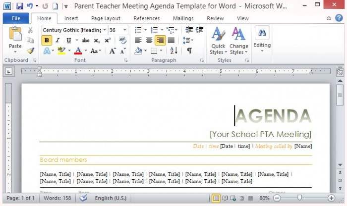 Parent Teacher Meeting Agenda Template for Word – Agenda Templates for Word