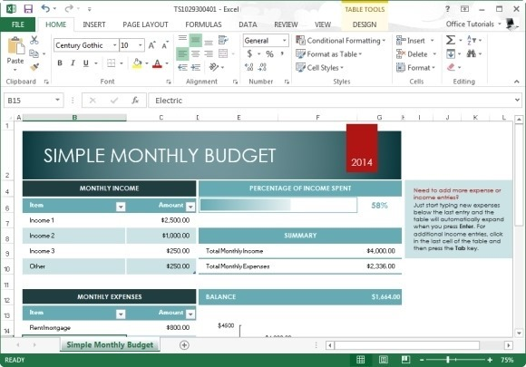 free monthly budget template for microsoft excel 2013