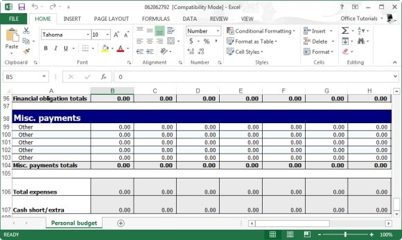 free personal budget planner template for excel. Black Bedroom Furniture Sets. Home Design Ideas