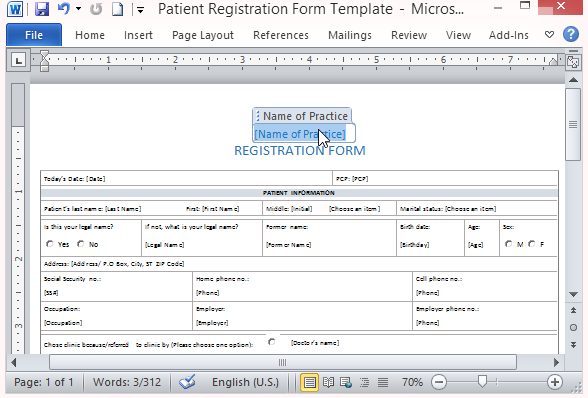 Free Patient Registration Form Template  Medical Record Form Template