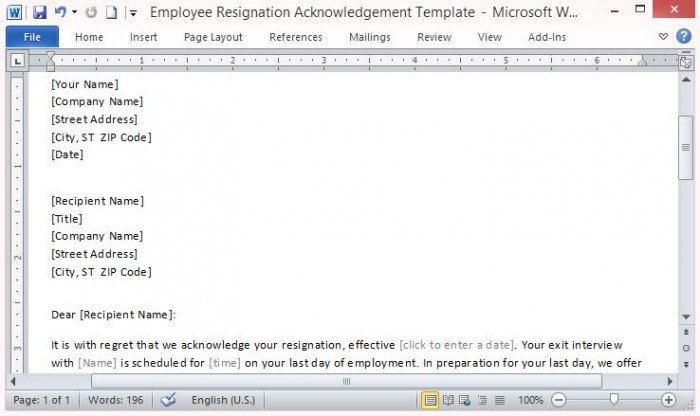 Employee Resignation Acceptance Letter Template For Word