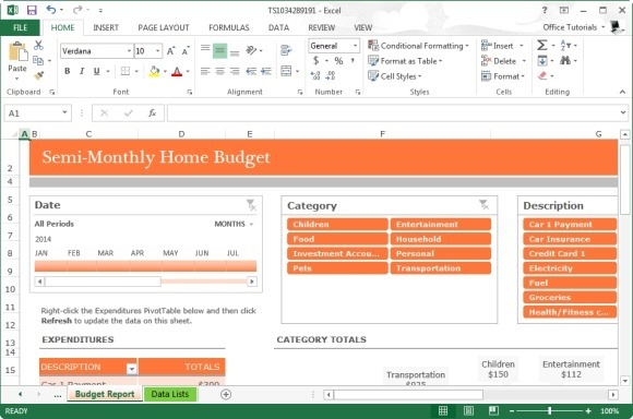 Monthly Home Budget Template For Microsoft Excel