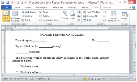 Free Job Accident Report Template For Microsoft Word