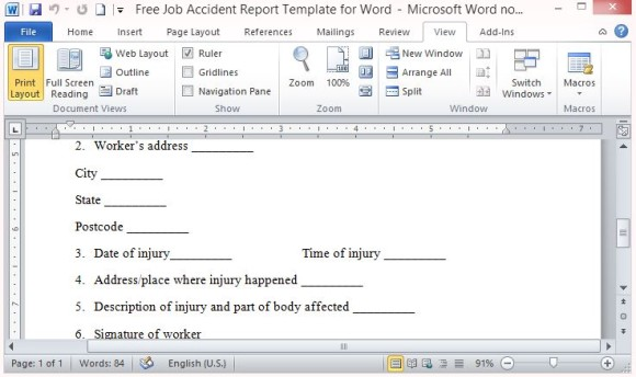 Ms Word Report Templates Free Ms Word Free Templates Free – Free Printable Incident Reports