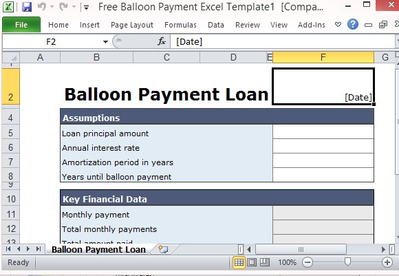 Free Balloon Payment Calculator Excel Template Form – Balloon Loan Calculator