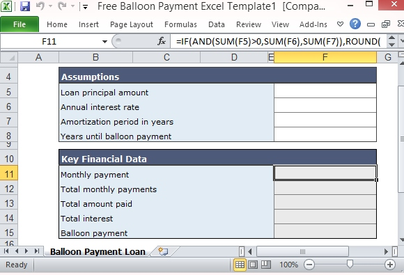 Free Balloon Payment Calculator Excel Template Form