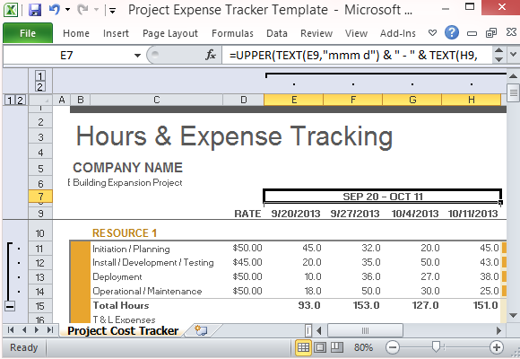 Convenient Project Expense Tracker Template