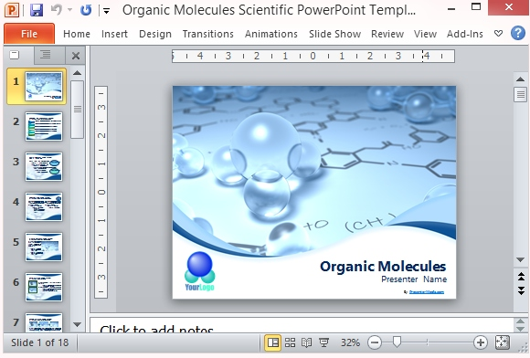 organic molecules scientific powerpoint template, Modern powerpoint