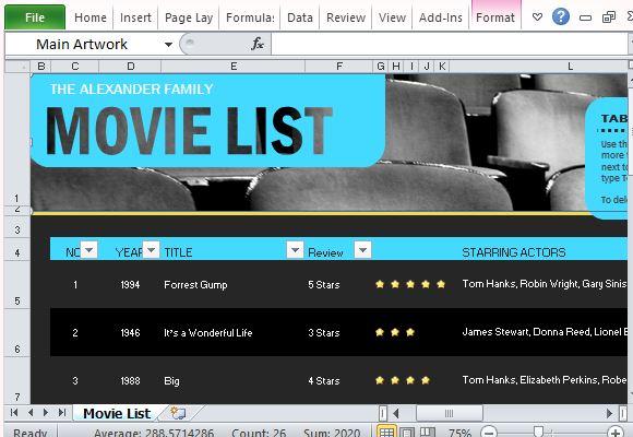 a movie list