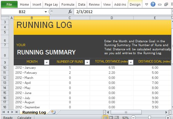 Free Running Log Template For Microsoft Excel - Excel log template