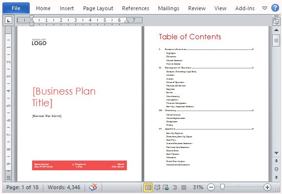 Startup Business Plan Template Word Doritrcatodos