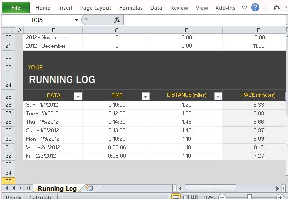 Running Log Template For Microsoft Excel