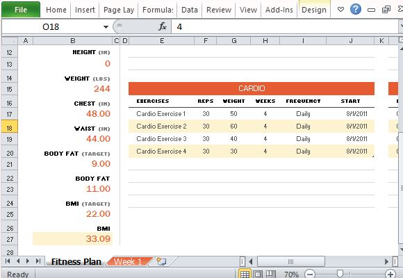 Free Fitness Plan Maker for Excel