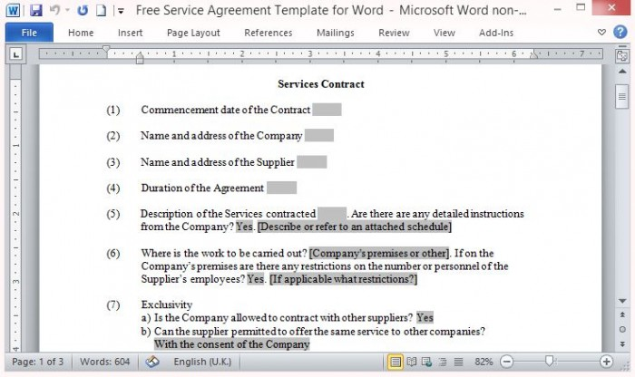 contract template services rendered .