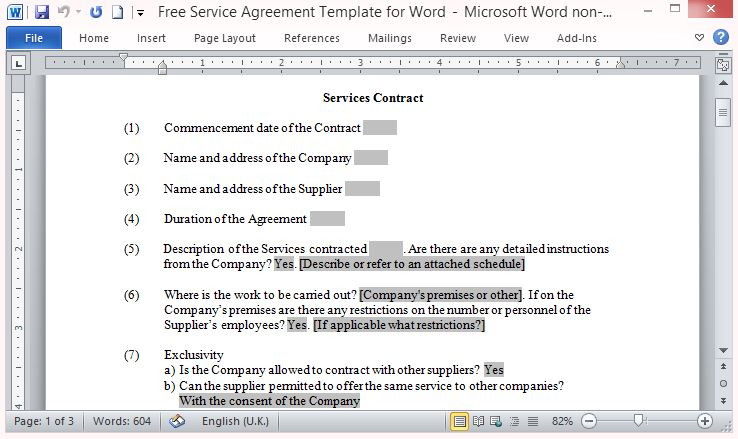 Free service contract template for Service provider agreement template free