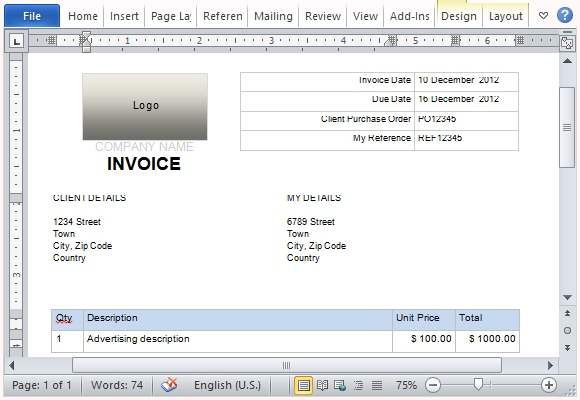 Free Invoice Template For Microsoft Word