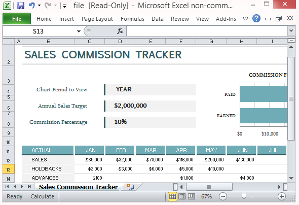Sales Commission Tracking Template For Microsoft Excel