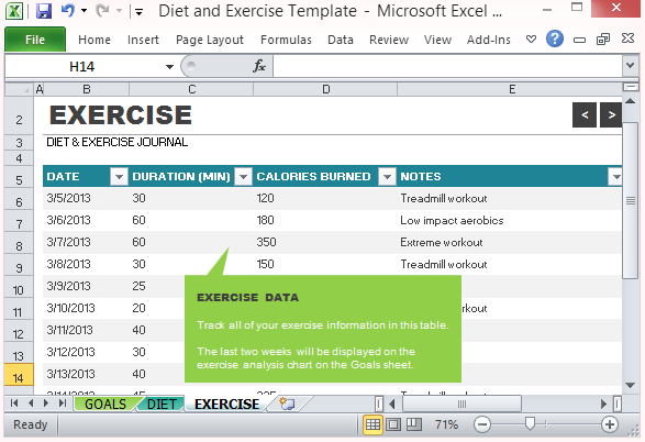 diet and exercise goal tracking template for excel 2013