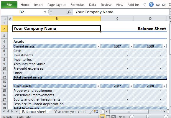 Download Editable Sample Balance Sheet For Excel