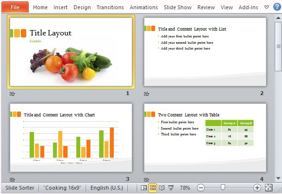 food presentation template for powerpoint, Presentation templates