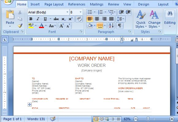 ms word work order template