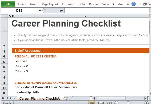 Career Planning Checklist Template for Excel