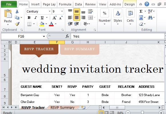 Elegant And Beautiful Wedding Invite List Tracker