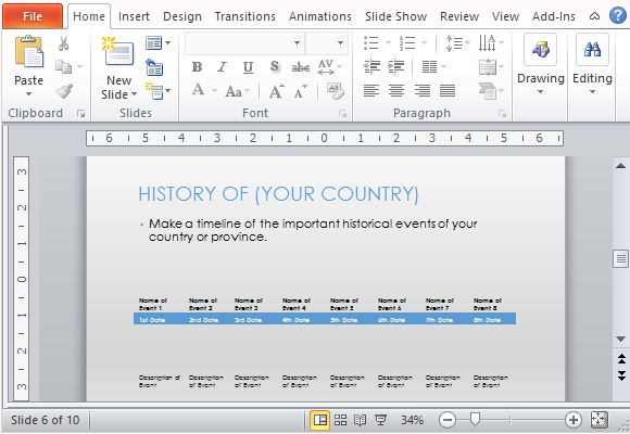 Present Country's Colorful History in a Timeline