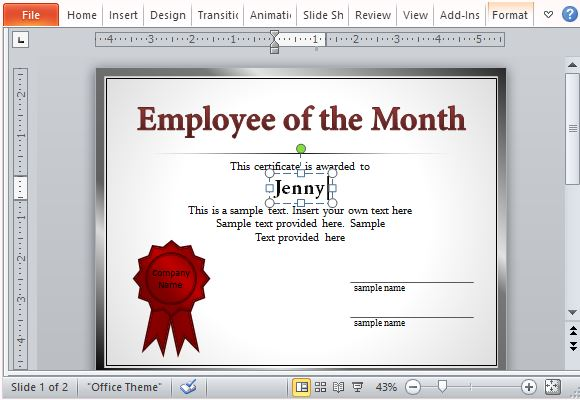 How to make employee of the month certificates standard certificate for many types of applications yadclub Gallery