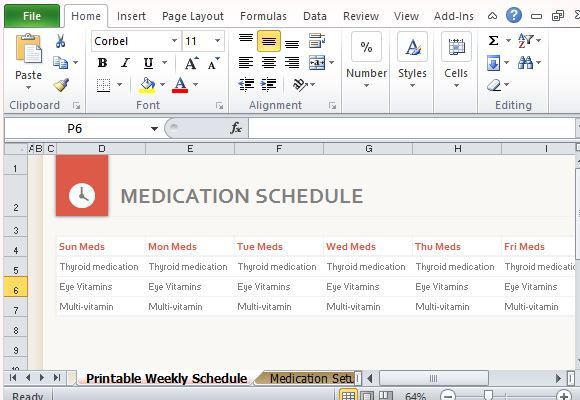 Medication schedule organizer for excel template comes with printer friendly medication schedule table maxwellsz