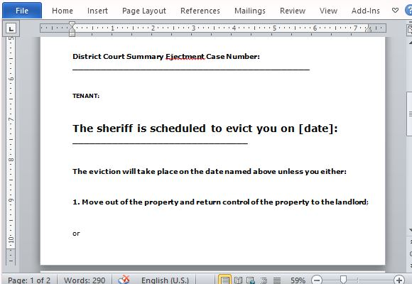 Eviction Notice Form for Word – Copy of an Eviction Notice
