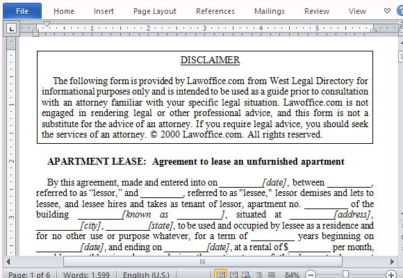 Apartment Lease Agreement Form For Word