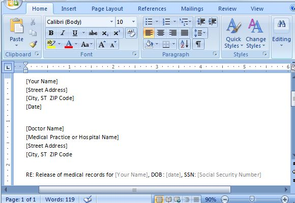 Medical Records Authorization Form Template For Word