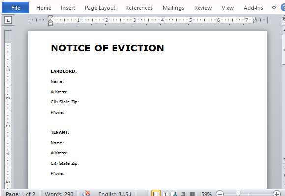 Eviction Notice Form for Word – Legal Forms Eviction Notice