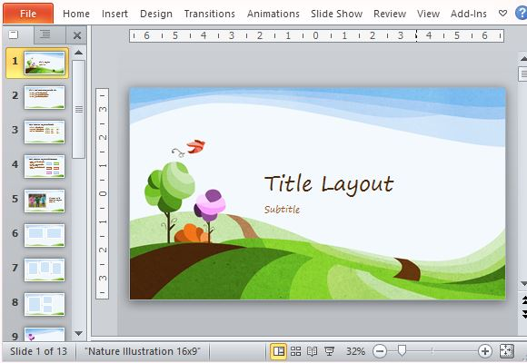 free nature powerpoint template with illustrated landscape
