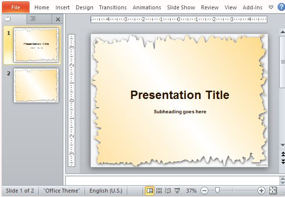 Broken Edges PowerPoint Template for Travel to History Presentations