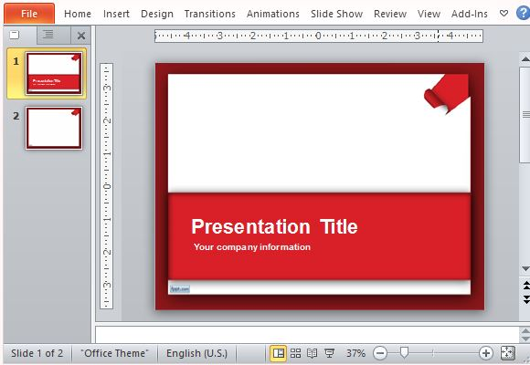 Elegant Red Template with Torn Paper Accent