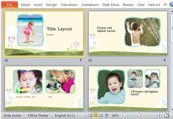 Powerpoint photo album template showcase your best family photos using various layouts toneelgroepblik Images