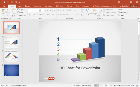 3D Bar Chart PowerPoint Template