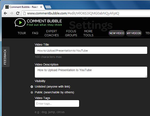 Add video title and description