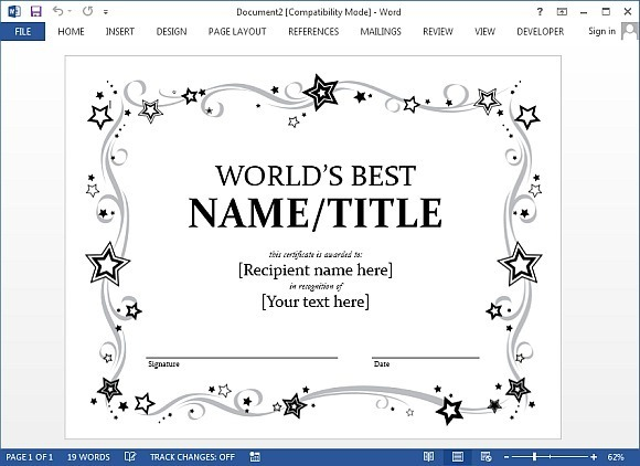 word template for certificate